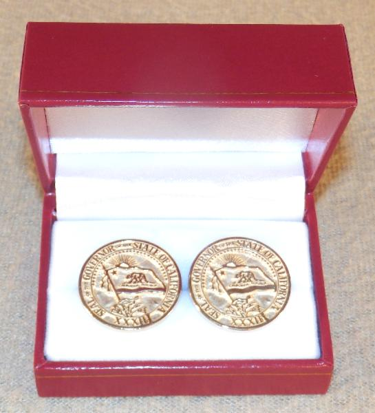 Ronald Reagan Very Rare Large Size 14K Solid Gold Governor Cufflinks