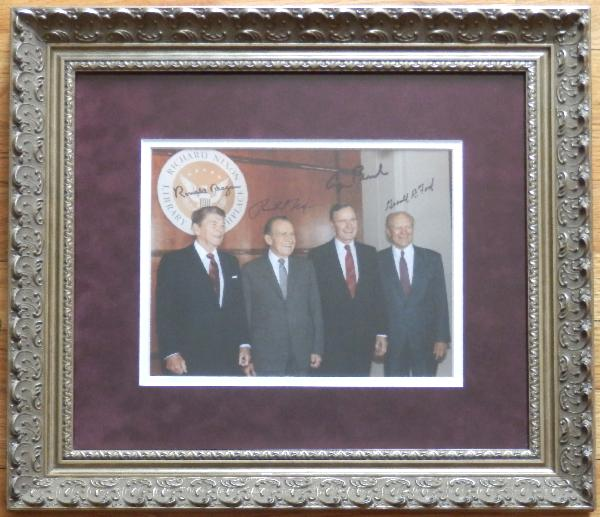 Four Republican Presidents Signed Photo Framed