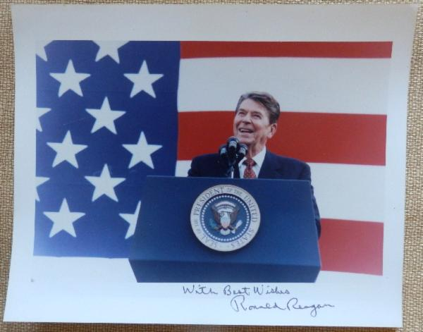 Ronald Reagan Signed and Inscribed With Best Wishes 10 x 8 Color Patriotic Photo