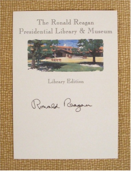 Ronald Reagan signed Library Bookplate