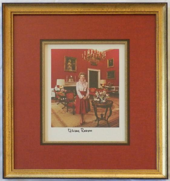 NEW ITEM Nancy Reagan Signed Red Room 8x10 Color Photo Framed