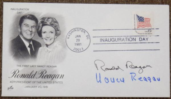 Ronald Reagan and Nancy Reagan signed First Day Cover  Jan. 20, 1981 Inauguration Day
