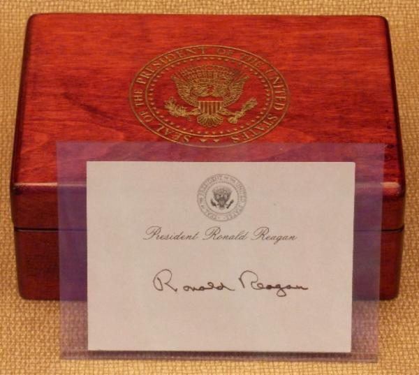Ronald Reagan Signed Post-It-Note with Wood Presentation Box