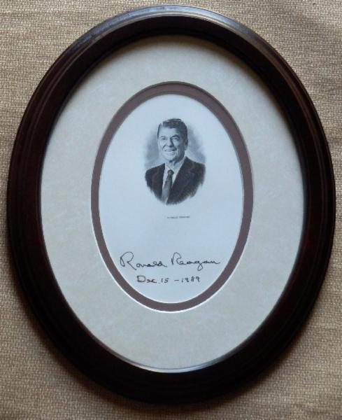 NEW ITEM Ronald Reagan Signed and Dated Engraving