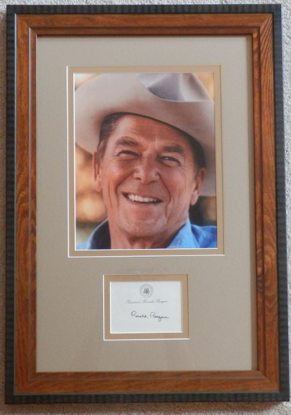 Ronald Reagan In Cowboy Hat Display with Signed Post-It-Note