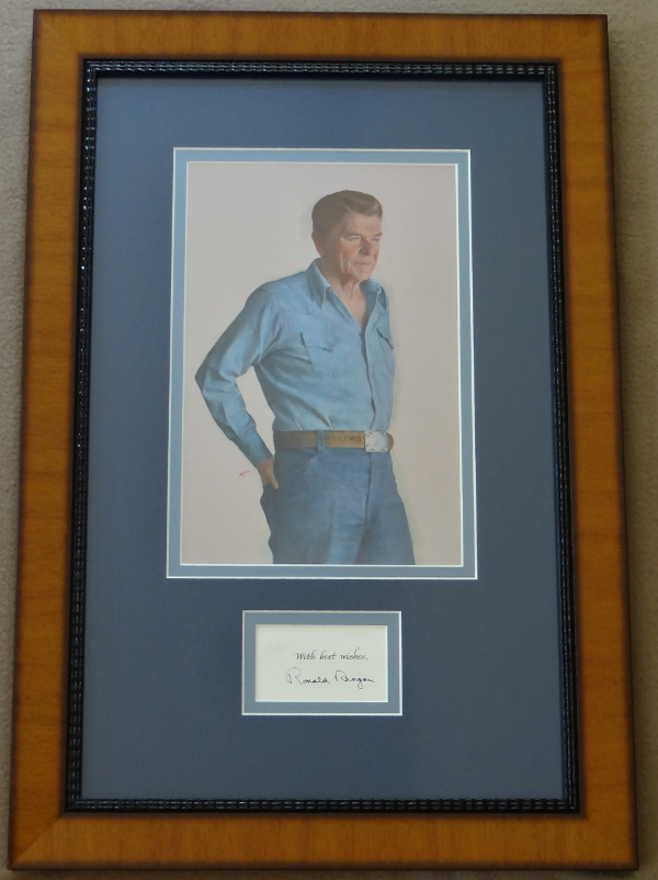 Ronald Reagan Time Magazine Man of the Year Cover Photo Giclee with Rare Signed Presidential Seal Embossed Card