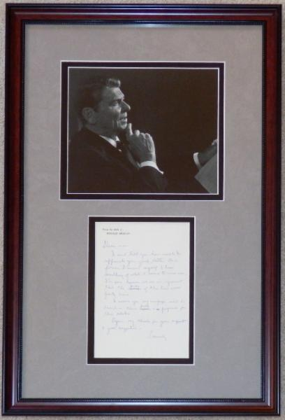 Ronald Reagan In Thought Display with Draft of Full Letter Former Democrat