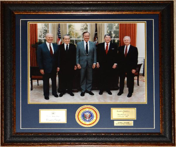 Five Presidents Over-sized Historic Photo Display with Signed Post-It-Note