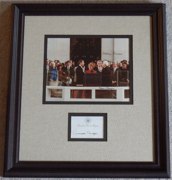 Ronald Reagan Inaugural Photo signed by Nancy Reagan and Chief Justice Warren E. Burger with Reagan signed Post-It-Note