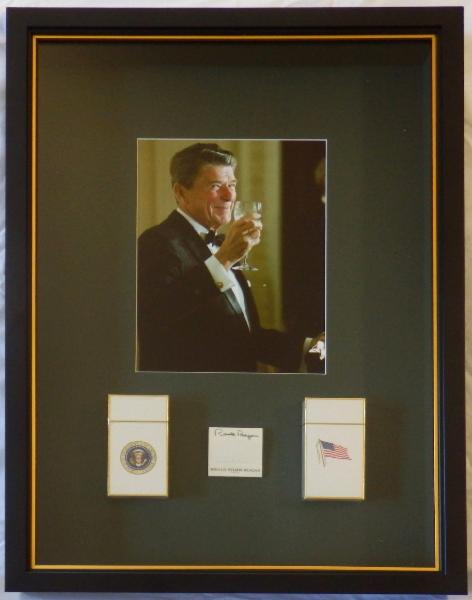 NEW President Reagan Rare Signed White House Matchbook Framed with White House Cigarettes in Shadowbox Display