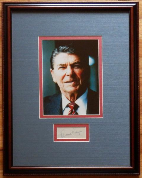 Ronald Reagan Patriotic Display with Signature Cut