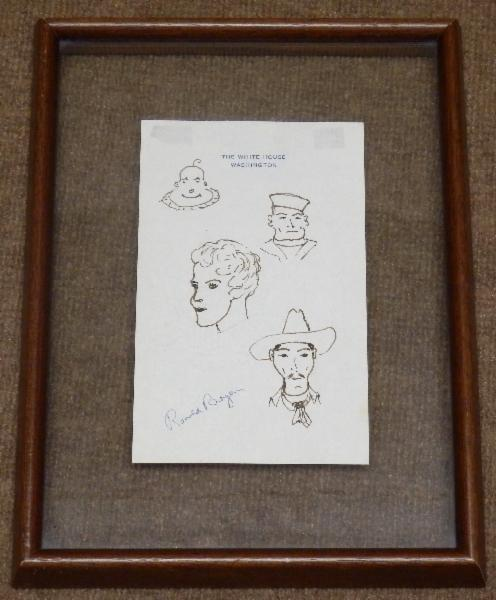Ronald Reagan Signed Four Doodles on White House Stationary