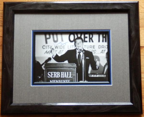 Ronald Reagan Signed Photo 1980 Campaign Speech at Serb Hall, Milwaukee