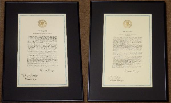 Ronald Reagan Rare Signed Proclamations Inscribed to X-Files Characters Scully & Mulder