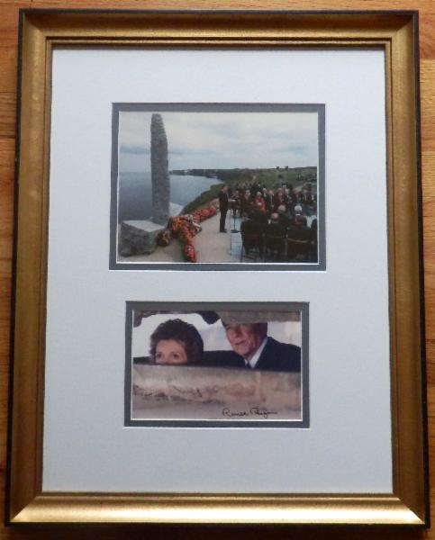 President Reagan Signed Color Photo with First Lady Nancy Reagan on the 40th Anniversary of D-Day at Normandy Beach