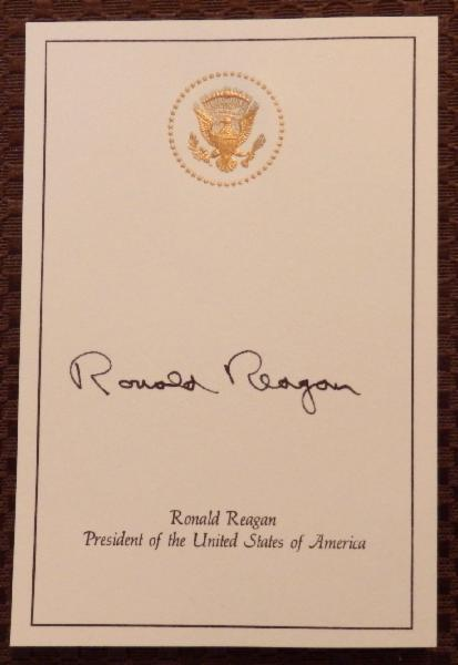 Ronald Reagan Signed President of the U.S. Card with Raised Presidential Seal