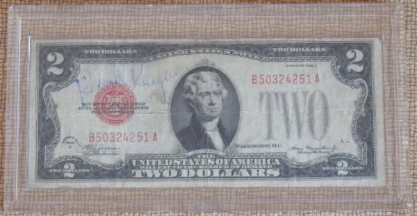 Ronald Reagan Rare Signed Two Dollar Bill