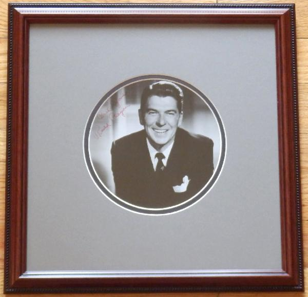 Ronald Reagan Signed and Inscribed Best Regards Black and White Photo Framed