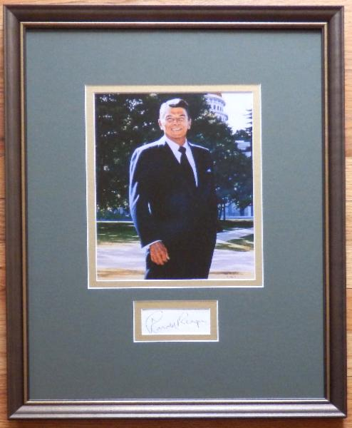 Ronald Reagan Display with Signature Cut