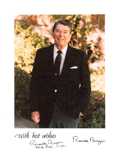 Ronald Reagan Signed, Inscribed 40th Pres. and Dated  8 x 10 Color Photo in a Garden Setting