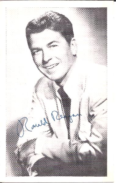 Ronald Reagan Signed Vintage 3 x 5 Black and White Glossy Photo