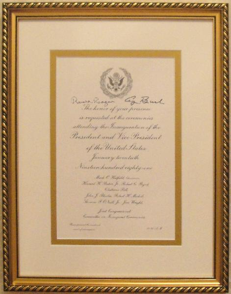 Ronald Reagan Signed 1981 Joint Congressional Committee on Inaugural Ceremonies Invitation Framed