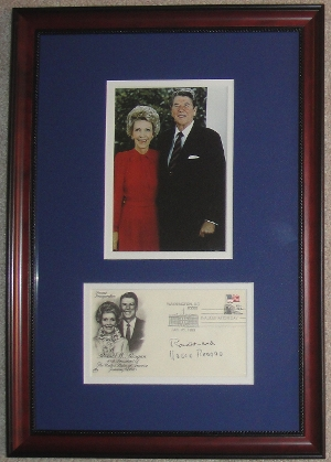 <font size=3>Ronald and Nancy Reagan Display with Inauguration First Day Cover (FDC)</font>