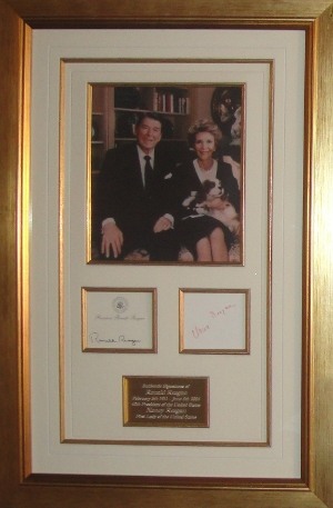 Ronald and Nancy Reagan Display with Signed Post-It-Note, Nancy Reagan Signature Cut in Red Ink and Engraved Plaque