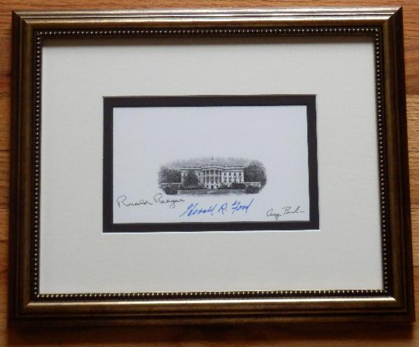 Three Republican Presidents Signed Engraving Framed