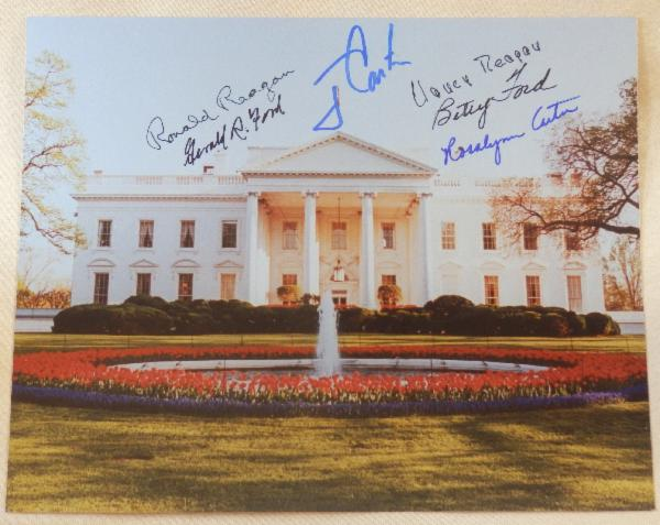White House Photo Signed by President and Mrs. Reagan, President and Mrs. Ford and President and Mrs. Carter